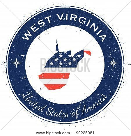 West Virginia Circular Patriotic Badge. Grunge Rubber Stamp With Usa State Flag, Map And The West Vi