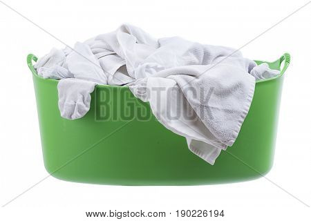 Green laundry basket isolated on white background.