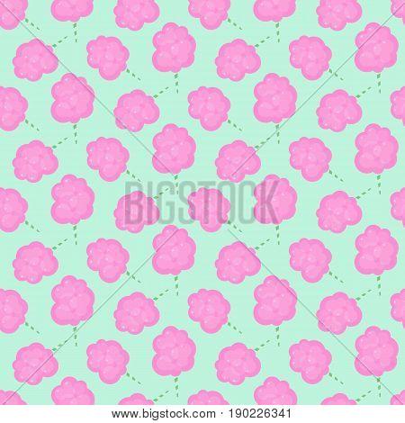 Cotton candy floss seamless pattern Flat design of sweet food cartoon vector illustration