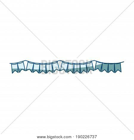blue shading silhouette of festoons in shape of square with peaks vector illustration