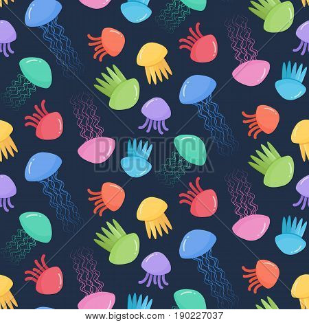 Seamless vector pattern with jellyfish flat design illustration swatch inside