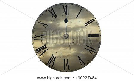 Fast flying clouds. Watch quickly go. Time Lapse Clock.