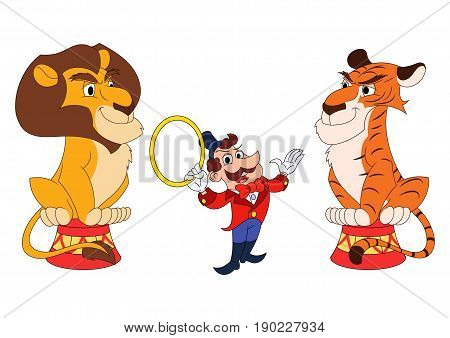 Illustration of the handler with lion and tiger