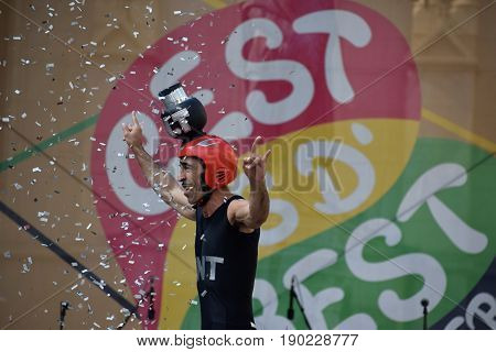 ZAGREB - MAY 2017 : Cest is d`Best famous street festival with many performers on May 2017 in Zagreb. TNT Francisco performer  in interesting expression doing his explosive performance play.