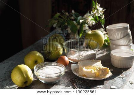 Ingredients for Apple pie tarte tatena diagonal horizontal