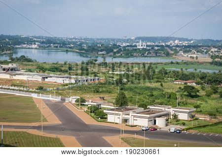 YAMOUSSOUKRO, CôTE D'IVOIRE (IVORY COAST), AFRICA. July 3, 2013. Yamoussoukro, the capital of the Ivory Coast, general view, stock image.