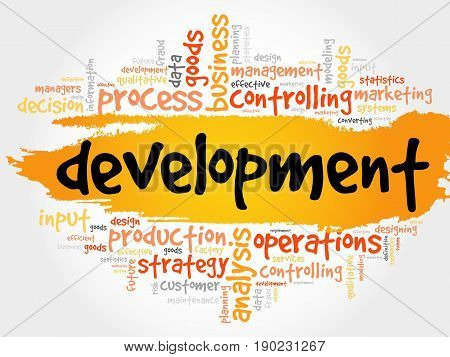 Development word cloud collage business concept background