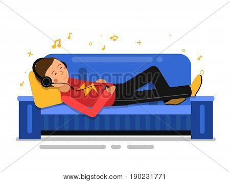 Man listening music and relaxing on sofa couch. Vector indoor illustration in flat style. Man on sofa home with music in headphone