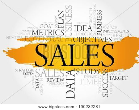 Sales word cloud collage, business concept background