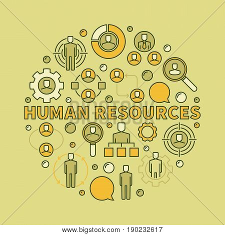 HR creative illustration. Vector circular sign made with phrase human resources and colorful recruitment icons