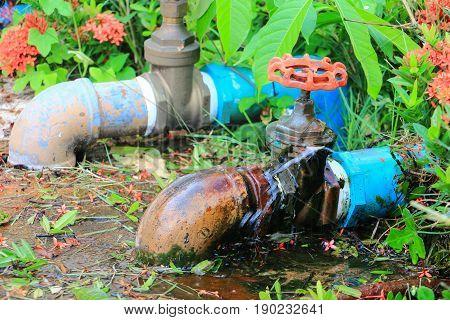 plumbing tube leak at wait repair plumber with motion water poster