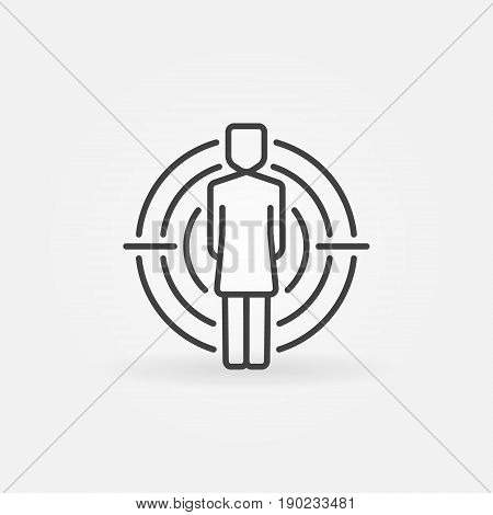 Woman under crosshair icon. Vector headhunter concept linear sign or logo element