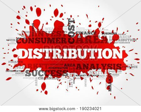 Distribution word cloud collage, business concept background