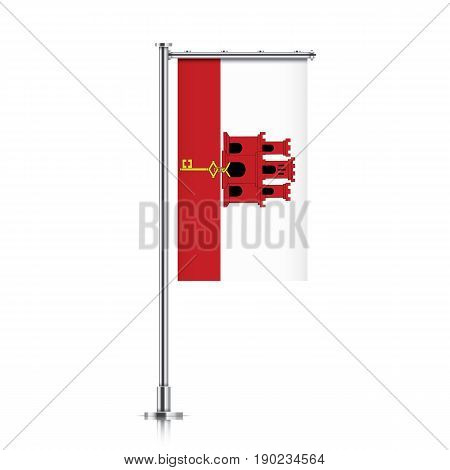 Gibraltar vector banner flag hanging on a silver metallic pole. Gibraltar vertical flag template isolated on a white background.
