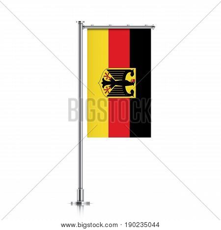 Germany vector banner flag hanging on a silver metallic pole. Deutschland vertical flag template isolated on a white background.