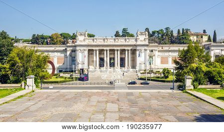 Rome Italy march 25 2017: front view of Galleria Nazionale d'Arte Moderna (GNAM National Gallery of Modern Art) art gallery founded in 1883 in Villa Borghese public gardens in Rome city