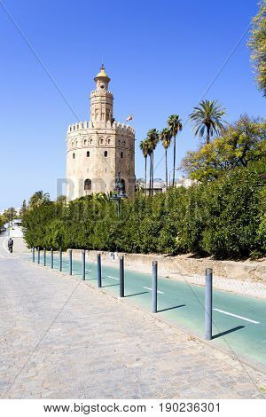 The Famous Torre Del Oro, The Moorish Tower Built To Defend Sevill