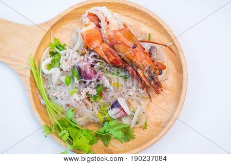 Spicy Noodles Vermicelli With Shrimp And Vegetables