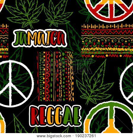 Seamless pattern with hippie peace symbol, cannabis leaves and ethnic ornament. Jamaica theme. Reggae concept design. Vector illustration