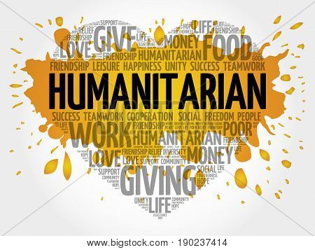 Humanitarian word cloud collage, business concept background