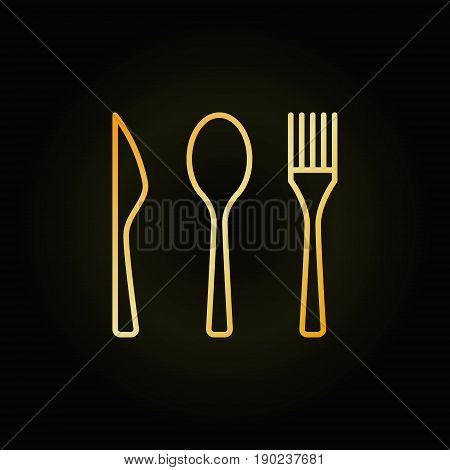 Cutlery golden linear icon - vector knife, spoon and fork sign. Food concept symbol or logo element in thin line style on dark background