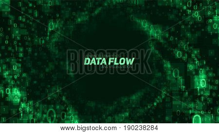 Vector abstract big data visualization. Green glowing data flow as binary numbers. Computer code representation. Cryptographic analysis, hacking. Bitcoin, blockchain transfer. Pattern of program code.