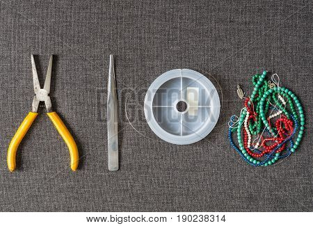 Top View of DIY Tools Bracelet and Necklace Accessories from Stone Beads