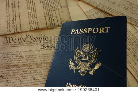 US passport on a copy of the Constitution