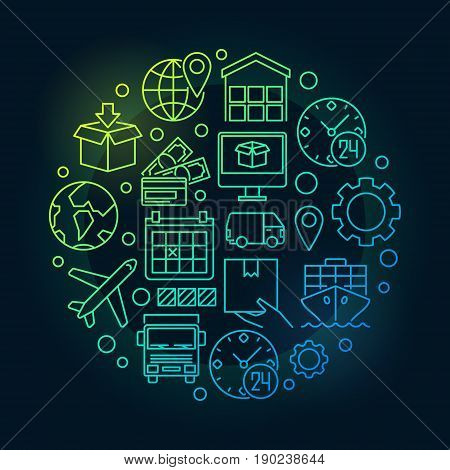 Global logistics colorful illustration - vector round bright concept symbol for logistic company on dark background