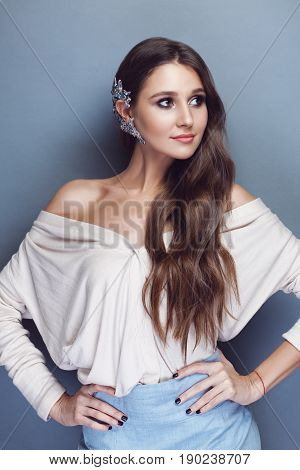 Brunette Girl Wearing Beautiful Crystal Cuff