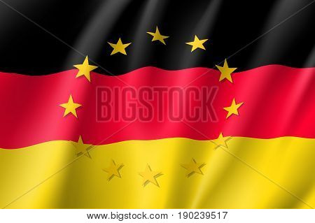 Germany national flag with a circle of European Union twelve gold stars, political and economic union, EU member since 1 January 1958. Realistic vector style illustration