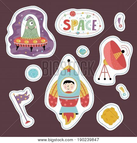 Space cartoon stickers. Alien in flying saucer, rocket with boy, flag, antenna, Moon, falling star or comet, Saturn and Earth vectors isolated on brown background. Counters for table game, price tag