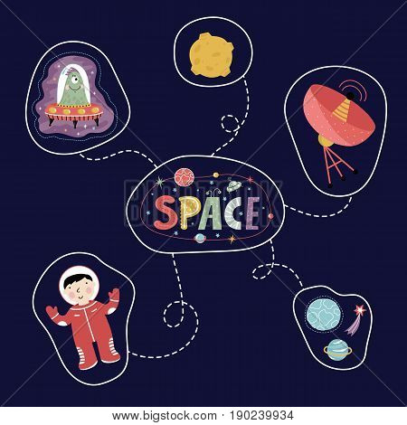 Space icons in cartoon style. Astronaut, alien in flying saucer, star, planet and comet, moon, antenna vectors isolated on blue background set. Astronomic concept for childrens book illustratig