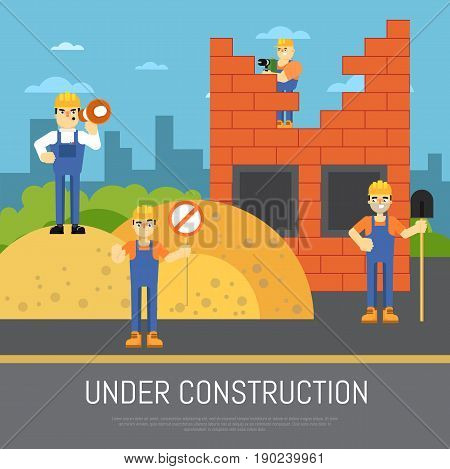Under construction banner with workers in uniform and helmet vector illustration. Building concept with construction workers collaborating on new house building. Flat design. Renovation background.