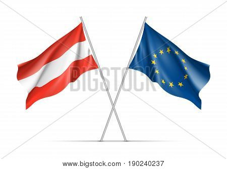 Austria and European Union waving flags on flagpole. EU sign with twelve gold stars on blue and Austrian national symbol in red and white colors. Vector isolated on white background