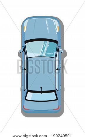 Modern sedan top view isolated icon. Family city car, comfortable automobile, people transport vector illustration.