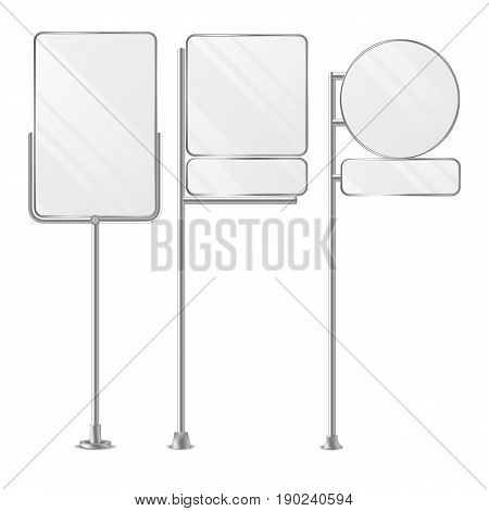 Blank White Outdoor Holder Stands Set Vector. Realistic Template For Business Advertising Isolated On White. Vector
