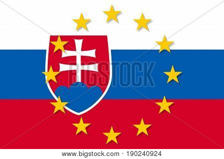 Slovakia national flag with a circle of European Union twelve gold stars, political and economic union, EU member since 1 May 2004. Vector flat style illustration