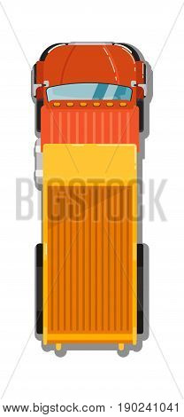 Commercial tipper isolated top view icon. Commercial van, modern lorry car, freight transport side view vector illustration.
