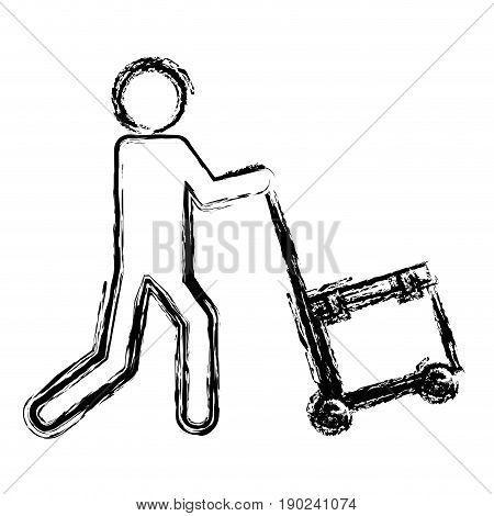 man with handcart and gift box icon over white background vector illustration