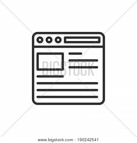Web browser line icon outline vector sign linear style pictogram isolated on white. Internet page symbol logo illustration. Editable stroke. Pixel perfect