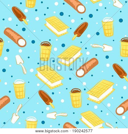 Blue seamless pattern background with different type of icecream