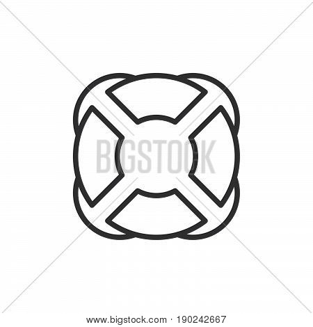 Lifebuoy line icon outline vector sign linear style pictogram isolated on white. Help symbol logo illustration. Editable stroke. Pixel perfect