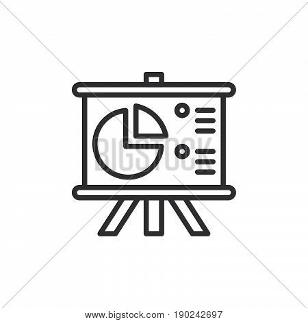 Flip Chart Board with pie chart line icon outline vector sign linear style pictogram isolated on white. Symbol logo illustration. Editable stroke. Pixel perfect