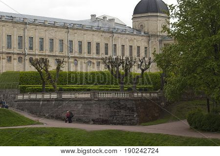 Gatchina Leningrad region Russia - June 03 2017: A fragment of the Gatchina Palace - residence of Russian emperors in the suburbs of St. Petersburg.