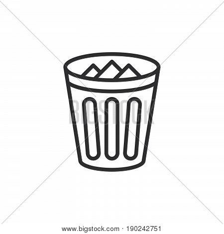 Trash bin line icon outline vector sign linear style pictogram isolated on white. Delete symbol logo illustration. Editable stroke. Pixel perfect