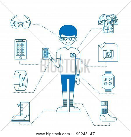 Wearable technology. Vector monochrome illustration with a man, smart gadgets (tracker, phone, glasses, camera), smart clothing and shoes. Thin line icons. Could be used for magazine or blog infographic.