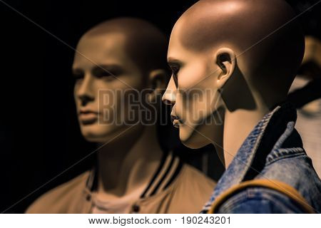 Mannequin Or Dummy With Human Face Imitating People Conversation, Fashion