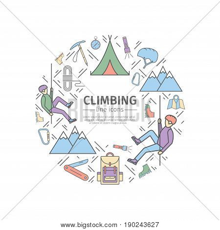 Rock-climbing web banner, sports equipment. Advertising template. Thin line icons. Vector illustration.