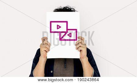 Arrow forward and backward icon with people studio shoot